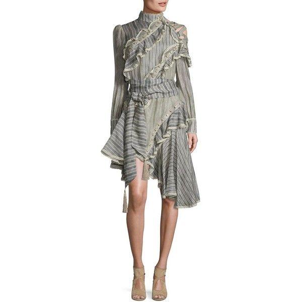 Zimmermann Cavalier Antique Striped Silk & Lenin Shirt Dress ($680) ❤ liked on Polyvore featuring dresses, white shirt dress, white long-sleeve dresses, silk shirt dress, white high neck dress and one shoulder dress