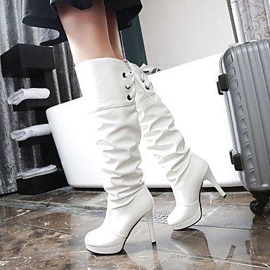 Γυναικεία παπούτσια-Μπότες-Γραφείο & Δουλειά Φόρεμα Καθημερινό-Τακούνι Στιλέτο Πλατφόρμα-Πλατφόρμες-PU-Μαύρο Άσπρο 5359703 2017 – €21.55