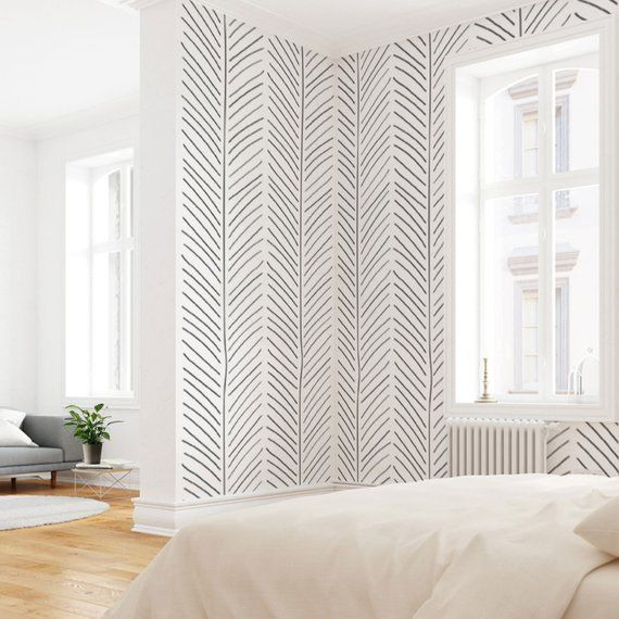 Black and White Geometric Wallpaper, Self Adhesive Wallpaper, Modern Interiors, Herringbone Pattern