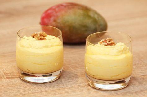Ein leckeres Dessert - So bereiten Sie eine himmlische Mangocreme mit frischer Mango in Ihrem Thermomix zu. Die Creme kann auch zu Eis gefroren werden.