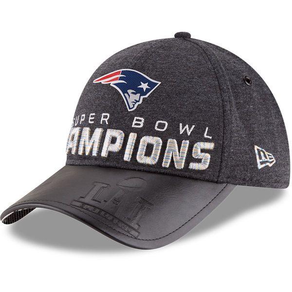 New England Patriots New Era Super Bowl LI Champions Trophy Collection Locker Room 9FORTY Adjustable Hat - Heathered Black