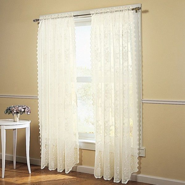 no918 alison floral lace sheer curtain panel 20 liked on polyvore featuring home