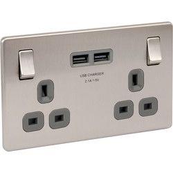 Screwless Flat Brushed Steel 13A DP USB Switch Socket 2 Gang. 2 x USB 2.1A ports