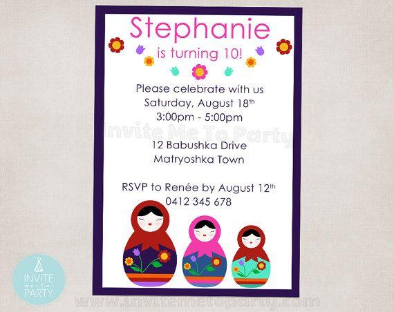 Babushka Invitation / Matryoshka Invitation by InviteMe2Party, $12.00