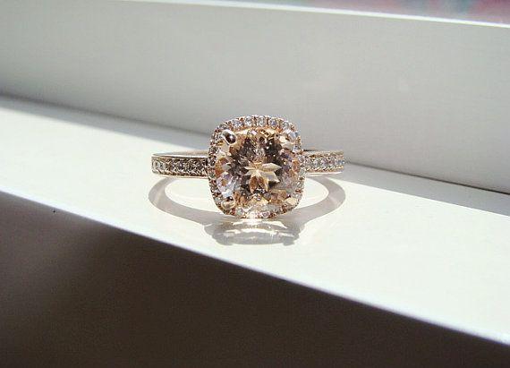Halo Morganite Diamond Ring Gemstone Engagement Ring Fine Upgraded Custom Peach Pink Cushion Round Halo Setting 14K Rose Gold on Etsy, $1,299.00