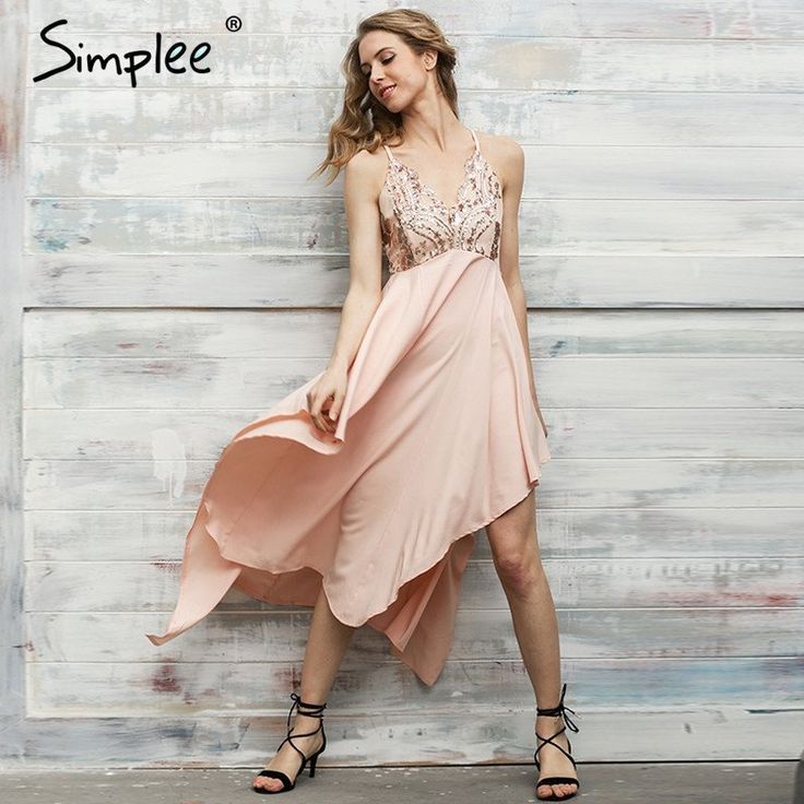 Simplee Sexy v neck sequin irregular long dress Women elegant backless party dress Sleeveless beach summer dress vestidos