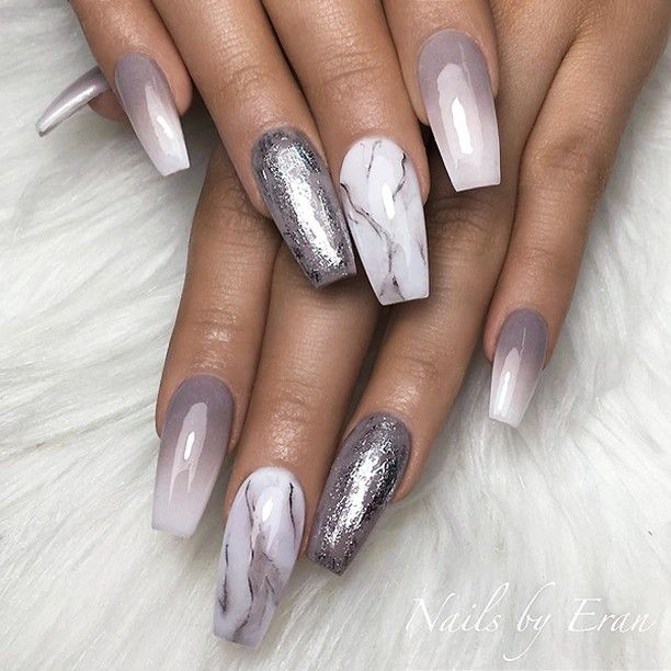 Repost Grey To White Ombre Silver Foil On Grey And