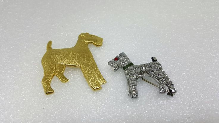 Airdale Terriers Dogs brooches pins lot of 2 puppy Dogs God Loves a Terrier #jewellery #brooch