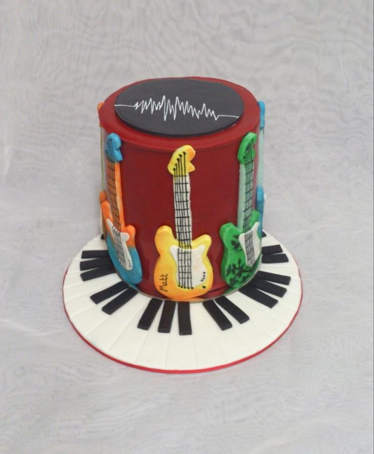 I made this for my friend who's husband is an Audio Engineer and a Recording Artist. He loves guitars and music, I told her I would make him a cake, she thinks she is getting a chocolate cake with strawberries hehehe Surprise!
