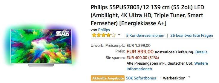 Philips 55PUS7803 / 12 139 cm 4K Ultra HD Fernseher mit 3-seitigem Ambilight