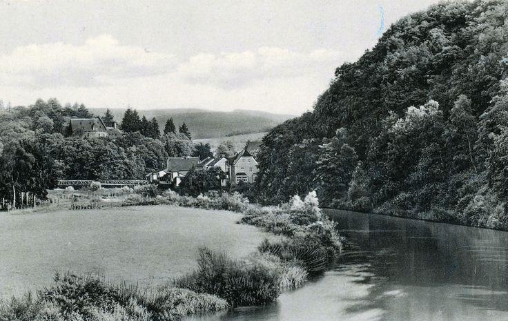 1956 - Frankenthal, Siegwiese, im Hintergrund die alte Fachwerkbrücke über die Sieg, gel. 1956 - A.O.B.