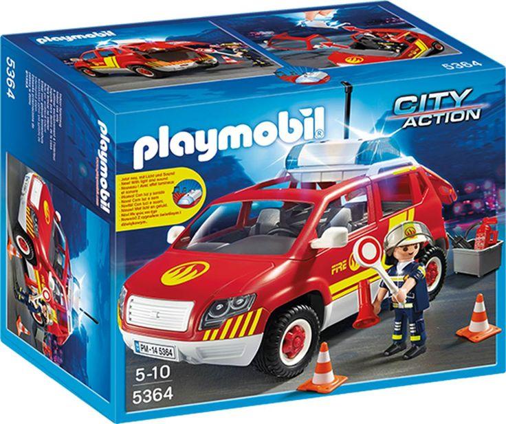 PLAYMOBIL 5364 brandchefens bil med lys og lyd PLAYMOBIL City Action-legesæt (5364)Brandchefen hopper ind i sin bil, tænder sirenen og de blinkende lys og suser af sted så hurtigt som muligt mod ildebranden for at slukke den.Inkl. 1 figur. - Bruger 2 AAA-batterier.