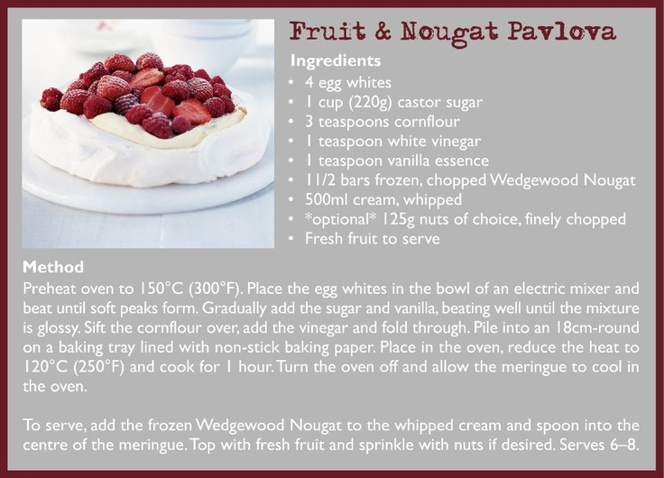 A touch of Wedgewood Nougat added to a delicious pavlova recipe