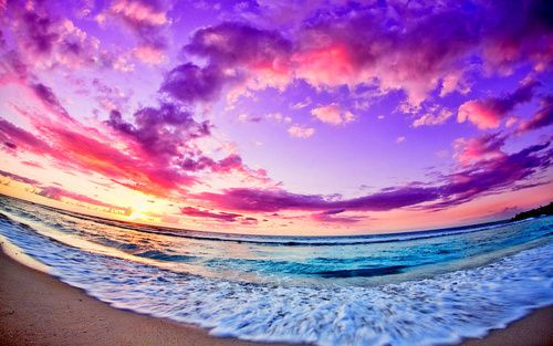 via tumblr: Pink Summer, Dreams, Color, Rainbows, Beaches Scene, Cloud, Beaches Sunsets, Beachsunset, Purple Sky