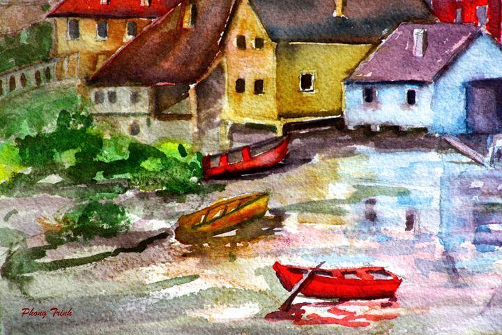 Lods Sur La Loue 17 - Phong Trinh Watercolor Fine Art Print Avail. At: http://www.artpal.com/phongtrinh/