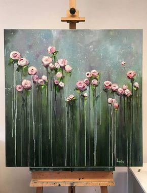 Große Blumen Kunstwerk, Original große Ölgemälde, handgefertigte Gemälde, Leinwand Kunst, Original, Hand malen, Geschenk, Wandkunst, Ölgemälde