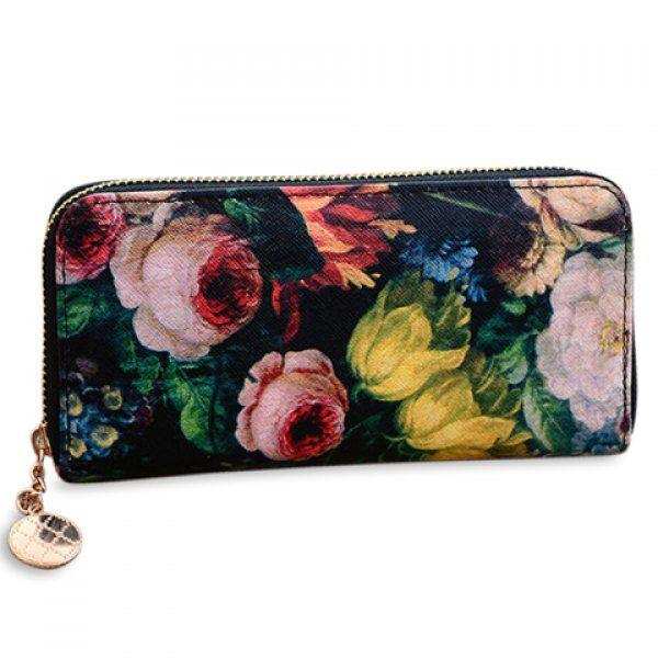 Pretty Zip and Floral Print Design Women's Clutch Wallet, BLACK in Women's Wallets | DressLily.com