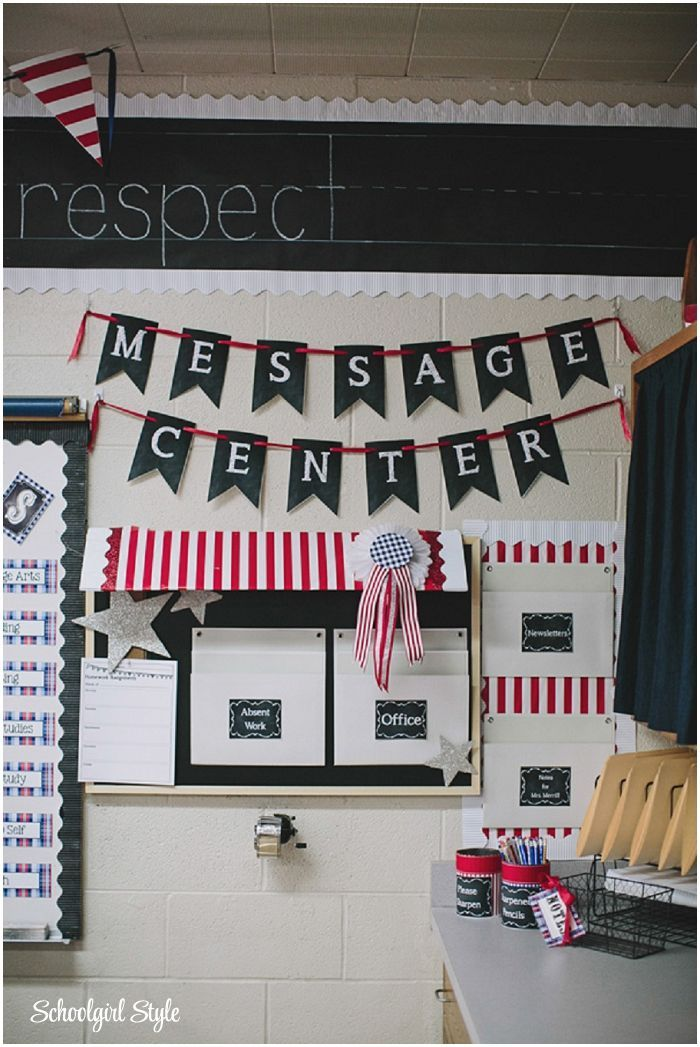 Create a classroom Message Center!  Get organized in your classroom! County Fair Classroom decorating theme  by Schoolgirl Style Americana, red, white, blue, chalkboard decor www.schoolgirlsty...