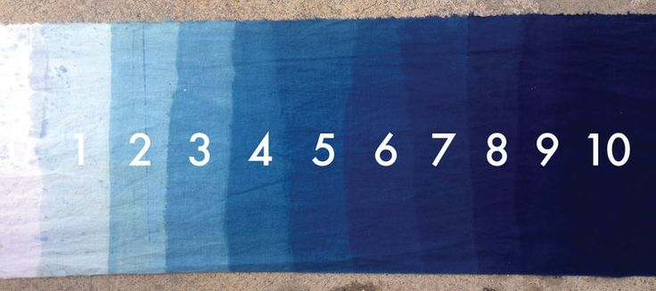 Each dip accumulates more pigment on the fabric. This stepped cloth shows the saturation from 0-10 dips in an Iron Vat.
