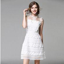 Mujeres Elegantes Casual Blanco Lindo vestido de Bola Sin Mangas Con Volantes de Encaje de Malla Bordado runway Bodycon Vestido…