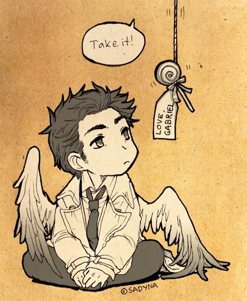 Okay, this is adorable. Gabriel giving his brother Castiel a lollipop. And the way Cas is drawn...