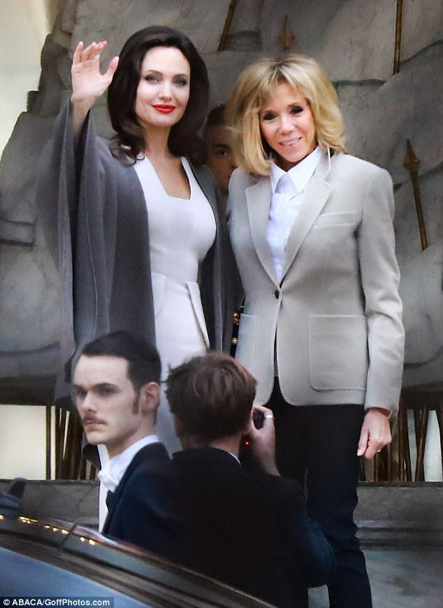 Meeting of the minds: Angelina Jolie met with French First Lady Brigitte Macron at Paris' ...