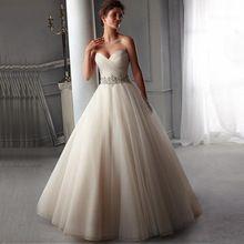 2016 Hot Sale A-line do Espartilho Vestidos de Casamento Da Princesa Frisada Low Back Branco Marfim Vestidos de Noiva Vestidos de Novia alishoppbrasil