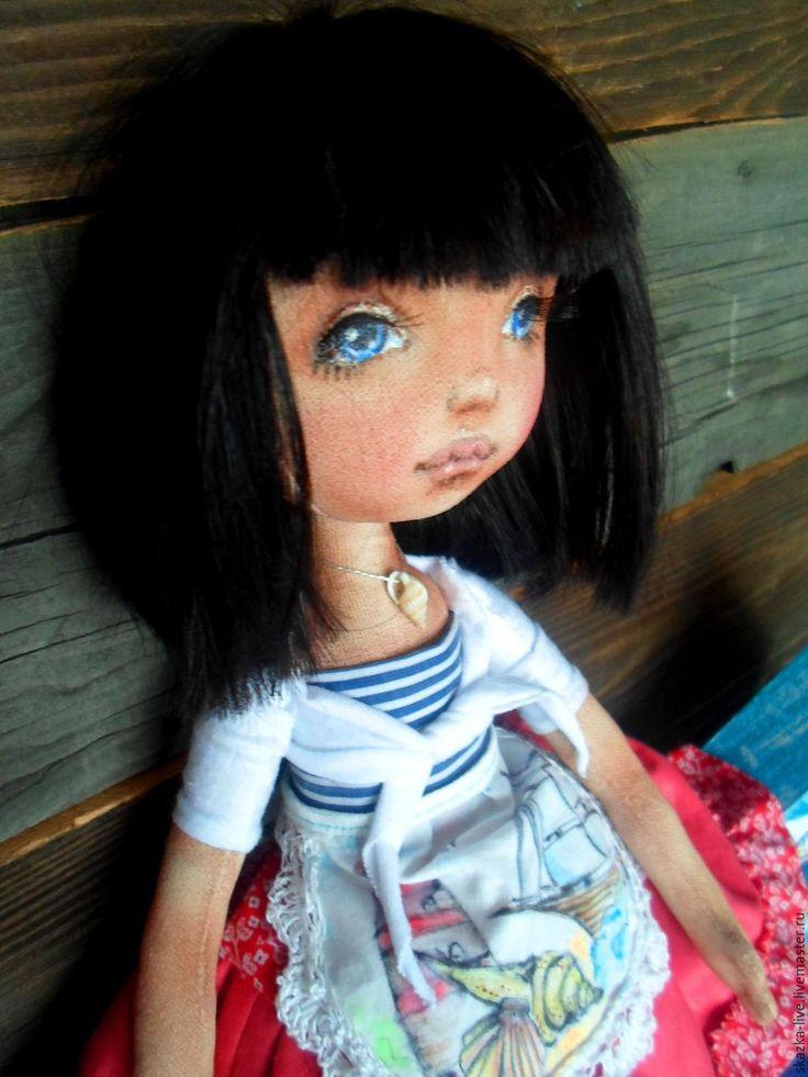 Купить Текстильная авторская кукла Марина морская+ морской шедоу бокс - синий, красный, белый