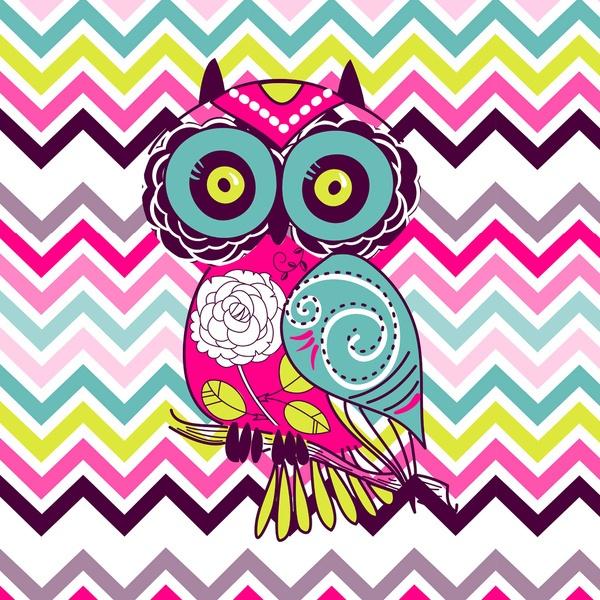 Chevron Retro Groovy Owl By Girly