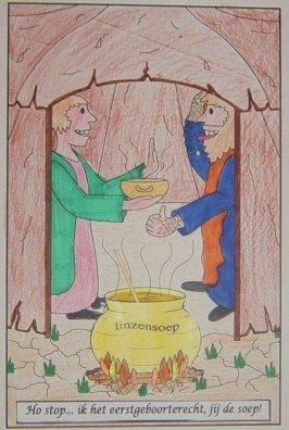 Genesis 25: Jacob krijgt van Esau het eerstgeboorterecht voor een lekker maal.