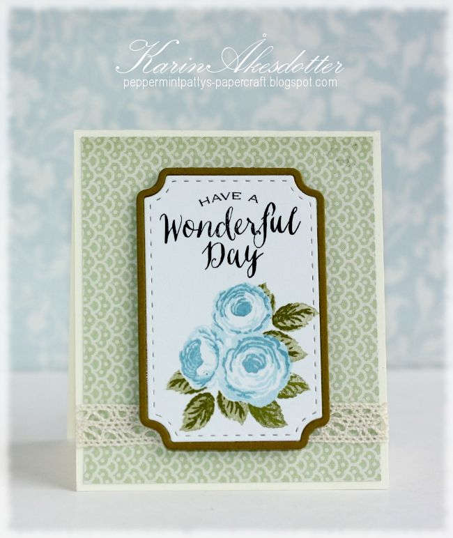 December 2014 New Release. Card by Karin Akesdotter featuring Old Country Roses stamp set.  Store - waltzingmousestamps.com  More Design Team inspiration here - wmsinspiration.blogspot.co.uk