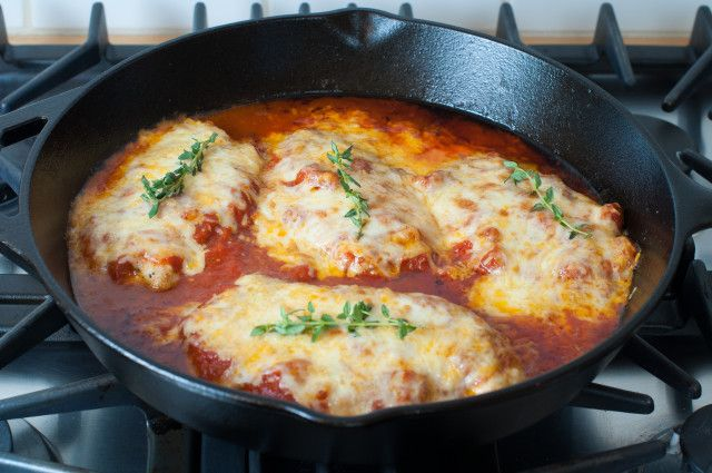 Easy skillet chicken parmesan.  Here's an easy weeknight chicken parmesan recipe that can be made and on your table in under 30 minutes, and the added bonus is that it can all be done in your cast iron skillet! It's also flour-less and egg-less and gluten-free to boot!