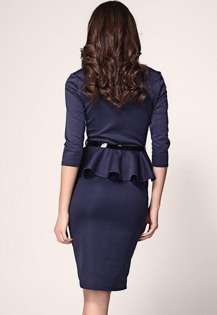 Dark Blue Long Sleeve Belted Peplum Midi Dress MB6163-2
