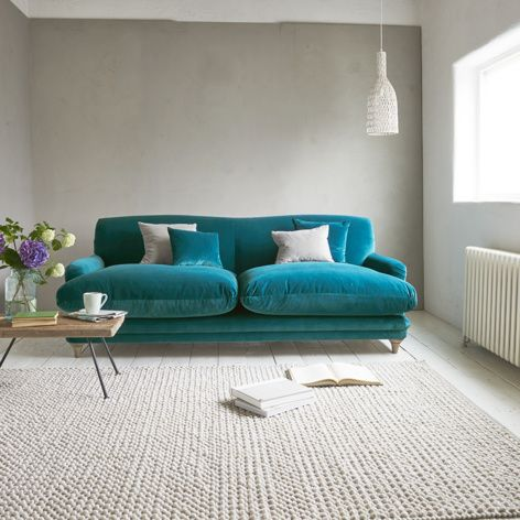 Contemporary British made Pudding sofa in Real Teal clever velvet