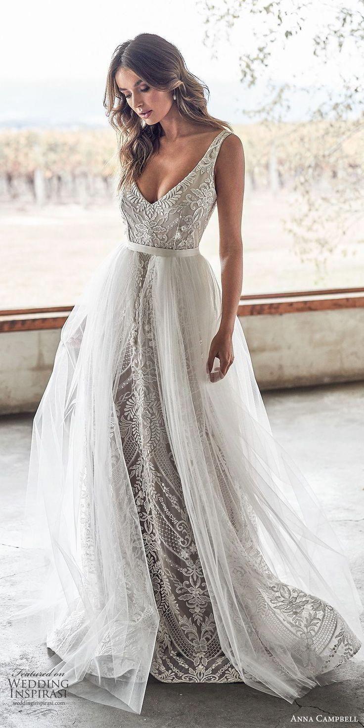Weddinginspirasi.com featuring – anna campbell 2020 bridal sleeveless thick straps deep v neckline fully embellished emb…