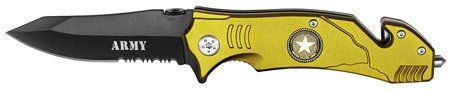 """4.5"""" UNITED STATES USA ARMY POCKET Folding Knife - Army - WITH RESCUE SEAT BELT CUTTER & GLASS BREAKER overall SIZE APPROX 8.25"""". GREAT GIFT. gorgeous army logo insignia. ships fast. great fathers day gift. limited stock."""