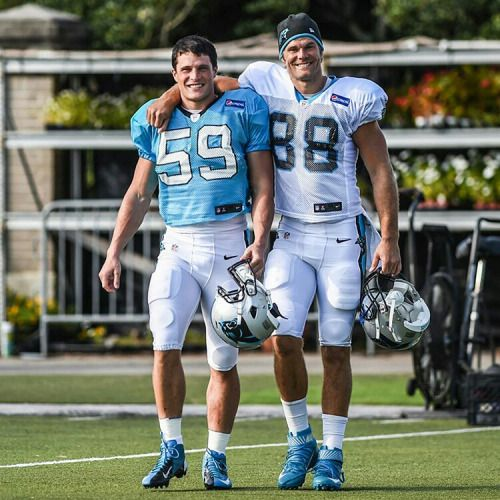 "the-football-chick: ""hellooo… Luke Kuechly and Greg Olsen doing that buddy thing…"