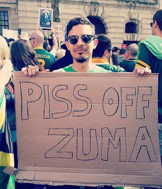 Had to add some British flair to today's #London protest #SouthAfrica