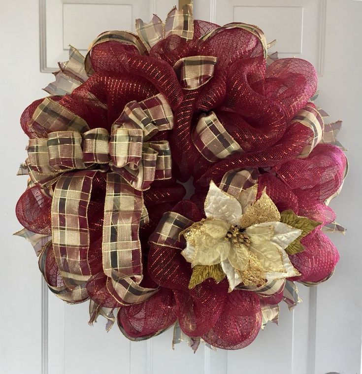 Burgundy Holiday Deco Mesh Wreath With Poinsettia eBay