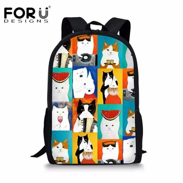 9492fb7e4159 ... FORUDESIGNS Children Boys Backpack 3D Zoo Animal Bagpack for High School  Kids Dog Cat Dinosaur Printing ...