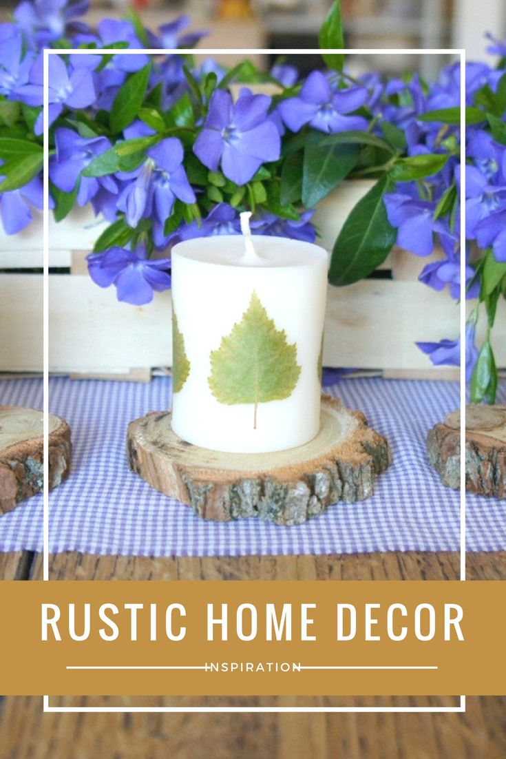 Rustic home decor inspiration with woodland vibes. Soy wax candles with real birch leaves.