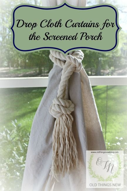 Drop Cloth Curtains for the Screened Porch