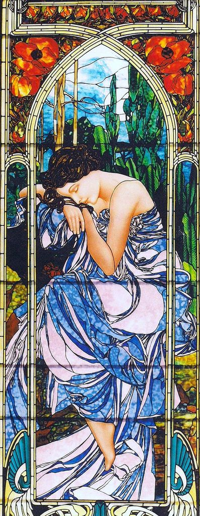 """Glas in Lood-Tiffany-Stained Glass ~1 van de 4 Stages of the Day """"Night's Rest"""", Bogenrief Studios - Jim M. Berberich, naar Alfons Mucha~"""