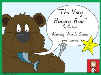 """44 pages!!Rhyming words game cards are included with four rhyming words game options for """"The Very Hungry Bear"""" by Nick Bland. This is a hands-on activity which is terrific for literacy rotations or fast finishers.Please note that you will need a copy of the picture book to make the best use of this resource.There are three different 'twists' in one of the rhyming words games using the polar bear cards for players to either lose their cards, miss a go or have another turn (it is up to the…"""