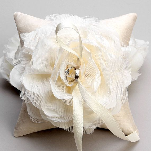 Wedding ring pillow  ivory flower bridal ring bearer by woomipyo, $47.00
