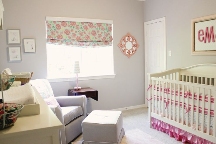 DIY Roman Blackout Shades - perfect pop of pattern in this nursery!: Pink Aqua Nurseries, Aqua Baby Nurseries, Blackout Shades, Adele Pink, Projects Nurseries, Pink Aqua Nursery, Baby Girls, Baby Rooms, Girls Nurseries