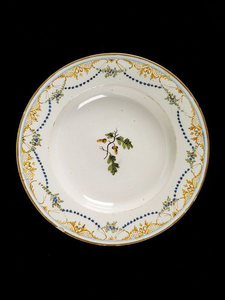 Plate, made in Ferniani factory, Faenza, Italy, about 1780-1800, tin-glazed earthenware. Marcato F.F. | Ferniani factory | V&A Search the Collections