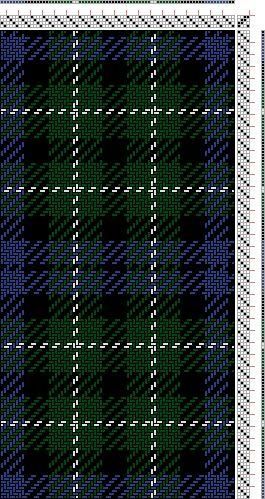 Hand Weaving Draft: Graham of Montrose (BK2, B8, BK8, G8, W2, G8, BK8), , 4S, 4T - Handweaving.net Hand Weaving and Draft Archive
