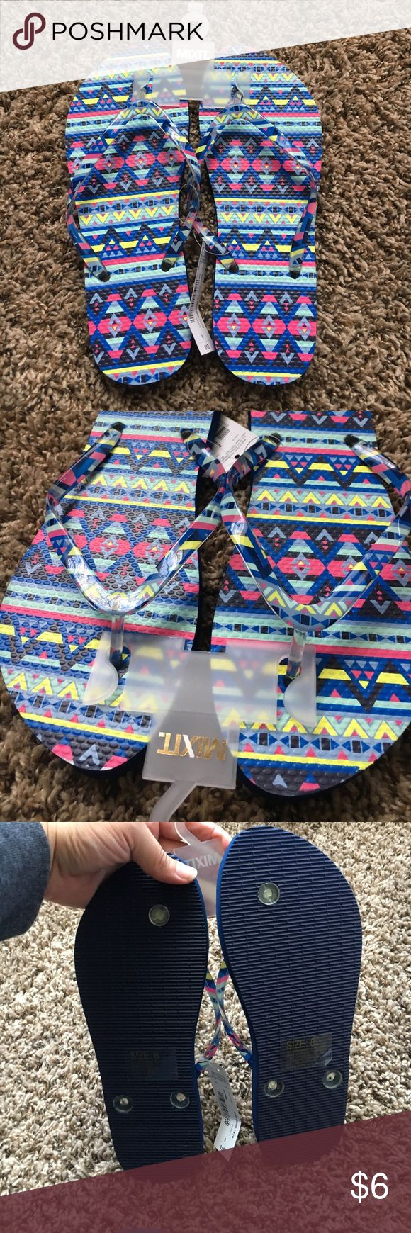 Mixit Aztec print Flip flops NWT SZ 8 Brand New with Tags these flip flops come in a fun Aztec pattern which is perfect from summer! Mixit Shoes Sandals