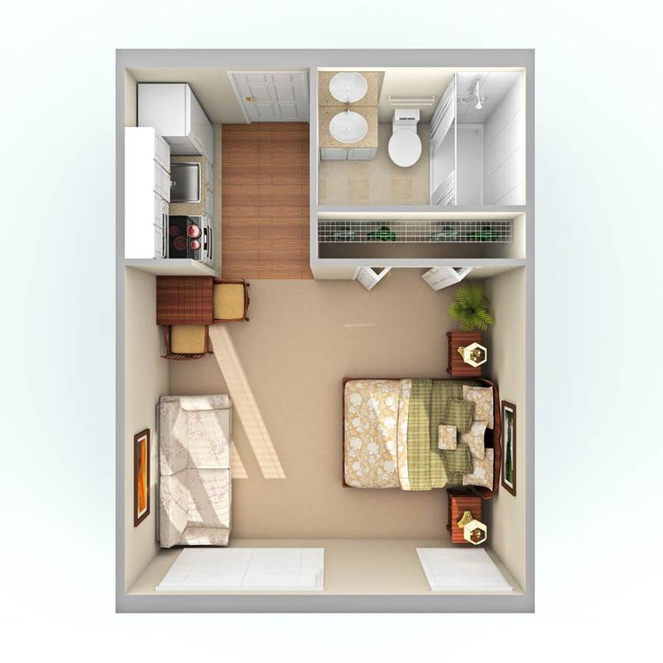 Studio apartment design floor plan for Best small apartments